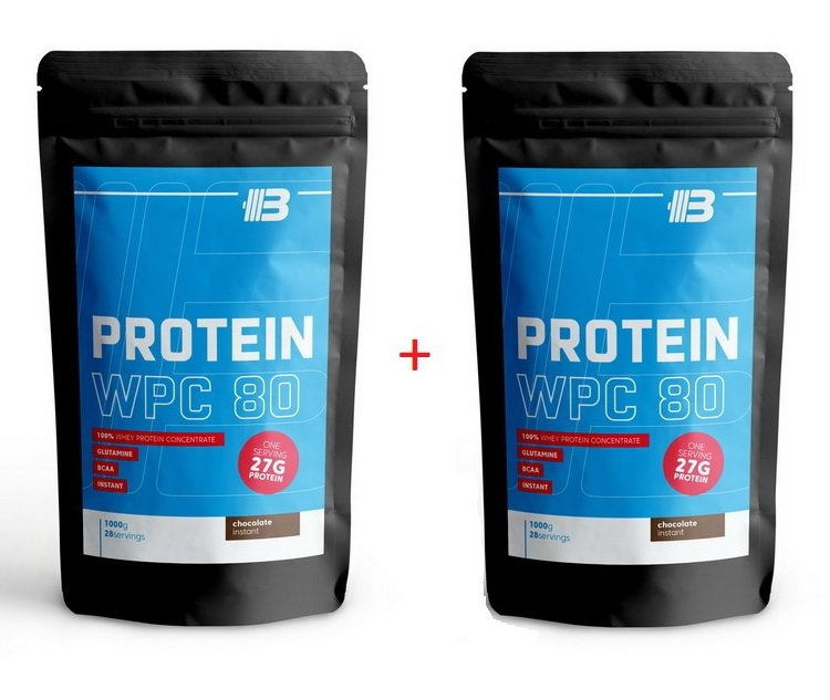 1 + 1 Zdarma: Protein WPC 80 - Body Nutrition 1000 g + 1000 g Chocolate